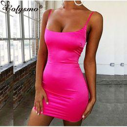 $enCountryForm.capitalKeyWord Australia - Colysmo Stretch Mini Satin Dress Women Sexy Straps Slim Fit Bodycon Party Dress Neon Green Pink Dress Summer Dreses Dual-layered S19709