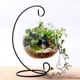 Wedding decor hanging candle holders online shopping - 28cm Stand Iron Hanging Rack Vintage Lantern Holder Home Decor Iron Candle Holder Wedding Decor Glass Ball Hanging Bracket Stand LXL584A