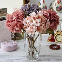 wholesale copper kitchen Canada - Artificial Hydrangea Flower Head 47cm Fake Silk Single Real Touch Hydrangeas 14 Colors for Wedding Centerpieces Decorative Flowers