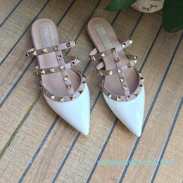 flat studs NZ - Women Flat Slippers Slip On Mules Rivet T-strap Slides Slip On Loafers Ladies Pointed Toe 2-Strap with Studs Sandals Q-592 s06