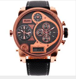 Watch steel japan movt online shopping - 5 cm Big OULM Brand Designer Military Japan Movt Quartz dz Watch Mens Sports Hours Montre Led Homme Vintage Rose Gold Clock