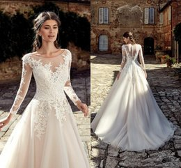 Wedding Dresses Apple Red NZ - 2019 New Designed Country Boho Wedding Dresses Summer Garden A Line Sheer Scoop Neck Appliques Long Bridal Gowns Button Back Sweep Train