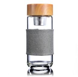 $enCountryForm.capitalKeyWord UK - Glass Water Bottle With Tea Infuser Strainer Heat Resistant European Style 400ML Glass filter Travel Car Office Drinking Bottles Tea cups