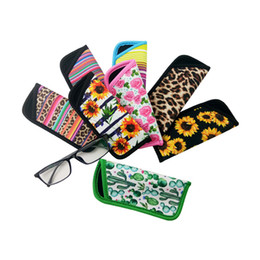 sunflower prints fabric Australia - Cactus Leopard Print Rainbow Sunflower RTS Eyeglasses Pouch Neoprene Eye bag Portable Travel Storage Bag Eyeglasses Accessories