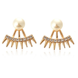 wholesale cone studs NZ - New Punk Pointed Cone Rhinestone Pearl Two Sided Back Ear Stud Earrings for Women European Fashion Jewelry Manufacturers