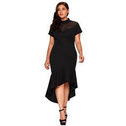 Women plus sizes kimonos online shopping - Women S Clothing Party Dresses Summer Large Code Irregularity Designer Dress Fashionable Half High Collar Plain Dresses