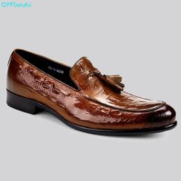 formal shoes patterns 2019 - QYFCIOUFU Italian Designer Wedding Shoes Men Oxford Genuine Leather Shoe Formal Quality Crocodile Pattern Tassel Dress S