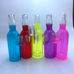 Smoking paintingS online shopping - New quot Glass Oil Rig Painted Bottle Glass Bong Waterpipe Glass Dab Rig Drink Smoking Pipes Mini Bongs With mm Quartz Banger Nail