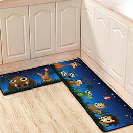 Long Floor Mats Australia - Set of 2pcs Cartoon Kitchen Floor Mat Long Strip Skid Proof Oil Proof Absorbent Foot Mat Bathroom Doormat Bedroom Bedside Carpet