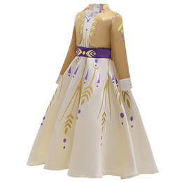 Wholesale pageant halloween costumes resale online - New Little Anna Dress Up for Girl Long Sleeve False Two Pieces Snow Queen Fancy Costume Halloween Pageant Party Clothes TePacket Shippin