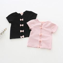 T Shirt Design Color NZ - kids designer clothes girls shirt summer Short Sleeve Solid Color Back Bow Design summer shirt girl O-neck 100% cotton t shirt 2 colors