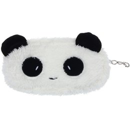 small pens UK - 2019 Quality Durable Small Fashion Cute Plush Panda Pen Pencil Case Cosmetic Makeup Bag Coin Purse Wallet