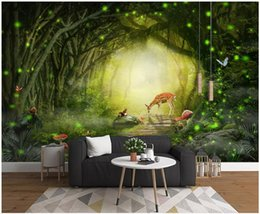 $enCountryForm.capitalKeyWord Australia - WDBH 3d wallpaper custom photo Modern dreamy green forest elk squirrel background room home decor 3d wall murals wallpaper for walls 3 d