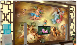 paintings yellow background NZ - 3d wallpaper custom photo mural European angel oil painting TV background wall 3d wall murals wallpaper for walls 3 d living room