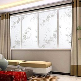 flower window stickers Australia - 45x100cm Frosted Cover Glass Window Plum Floral Flower Sticker Film Home Decor Wall Stick Decoration for Windows Decoratin