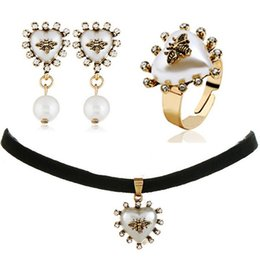 Chinese  VINTAGE BEE TORQUE CHOKER NECKLACE EARRING ADJUSTABLE RING 3IN1 JEWELRY SET FASHION CREATIVE CUTE CHARM NECKLACES EARRINGS RINGS COMBO manufacturers