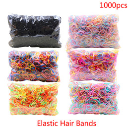 hair elastic striped Australia - About 1000pcs pack Rubber Hairband Rope Silicone Ponytail Holder Elastic TPU Hair Holder Tie Gum Rings Girls Hair Accessories