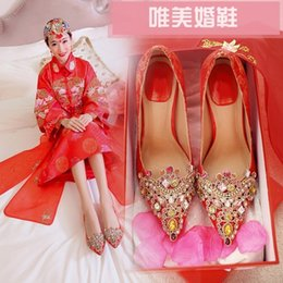 $enCountryForm.capitalKeyWord Australia - Glittery2019 Popular2019 Season 16 Wedding China Red Printing Will Rhinestone Sharp High-heeled Autumn Bride Shoe Women's Shoes