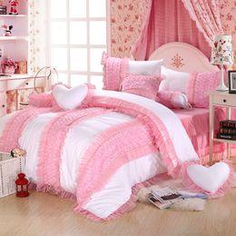 Bedsheet Cotton White Australia - White Pink Cotton Lace Bedding set King Queen Twin size Single Kids Girls Bed Bedsheet Duvet cover Pillowcase