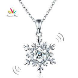 snowflakes pendant NZ - Dancing Stone Snowflake Pendant Necklace Solid 925 Sterling Silver Good for Bridal Bridesmaid Gift CFN8055 Dropshipping Service Available
