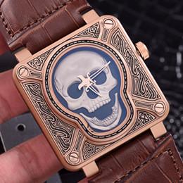Venta al por mayor de Alta calidadTop Marca de lujo BELL Reírse del cráneo ROSS Edición limitada Casual de silicona Relojes para hombres Reloj automático Reloj Relogio masculino