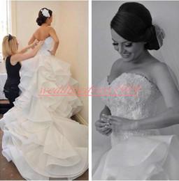 $enCountryForm.capitalKeyWord Australia - Gorgeous 2020 Sweetheart Ruffle Mermaid Plus Size Wedding Dresses Marriage Beads Organza Lace Tiered Bridal Gowns Bride Dress Robe de mariée