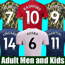 Kids jerseys xl online shopping - 18 FC Manchester United Soccer Jersey Man Jersey UTD POGBA LUKAKU RASHFORD ALEXIS Football Shirt Kit adult MEN and KIDS sets Uniform