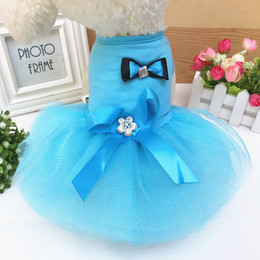 Dresses Apparel Australia - High Quality Pet Dogs Clothes Bow Dress Soft Lace Colorful Luxury Exquisite Dog Apparel Wedding Clothing Spring And Summer Style