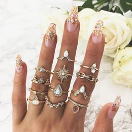 $enCountryForm.capitalKeyWord Australia - 12Pcs Vintage Water-drop Crystal Crown Opal Ring Set Women Charm Gold Stone Midi Knuckle Finger Rings Accessories