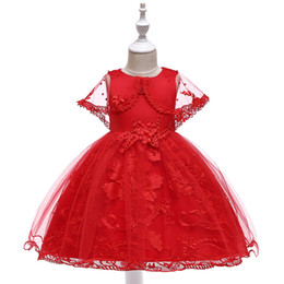 Chinese  Girls Pretty Red White Green Pink Wedding Christmas Tween Princess Party Dresses Design For Special Occasions Long Frocks Online manufacturers