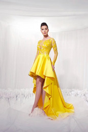 plus size asymmetrical evening dresses Canada - Yellow Lace Formal Evening Dress Plus Size Illusion Long Sleeves Modest 2020 Applique High Low Prom Party Gowns Vestidos De Novia