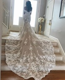 mermaid champagne flower wedding dress UK - Cathedral Train Mermaid Wedding Dresses 2020 Off Shoulder Lace Floral Castle Arabic Dubai Church Bride Wedding Gown Robe