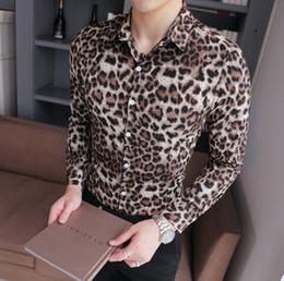 Wholesale mens leopard shirt long resale online - Leopard Shirt Men New Slim Fit Male Dress Shirt Long Sleeve Casual Thin Streetwear Mens Leopard Print for Men xl m