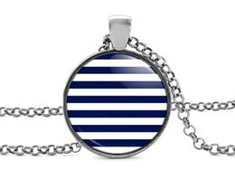 Glasses Face Long Australia - 2019 new fashion navy blue striped pendant necklace handmade vintage jewelry jewelry glass dome 3 color long chain accessories