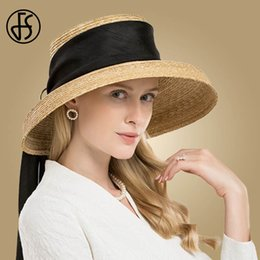 $enCountryForm.capitalKeyWord Australia - FS Hepburn Style Women Summer Hats Beach 2019 Natural Color Flat Large Wide Brim Hat Boater Straw Fedora Bowknot Girls Sun Caps