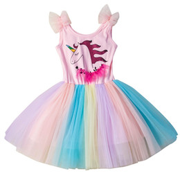 Chinese  Unicorn Girl Princess Dress Lack Tutu Party Dress for Kids Designer Clothes for Girls Beach Dresses manufacturers