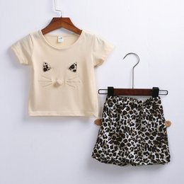 Hottest Girl Short Pants NZ - Summer Simple Kid Baby Girl Short Sleeve Cartoon Cat Letter Tops Short Pants Outfits Set New Style Suit Loose Hot