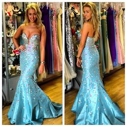 $enCountryForm.capitalKeyWord Australia - Rhinestone Evening Gown Vestidos De Noche Largos Elegantes 2019 Vintage Blue Taffeta Mermaid Long Prom Dresses Formal Party Gowns