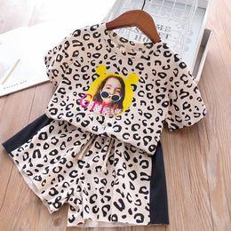 Leopard Kids T Shirts Australia - leopard print Girls Outfits kids designer clothes Girl Suit 2019 new Summer Kids Sets short sleeve T shirt+Shorts Fashion kids clothes A4149