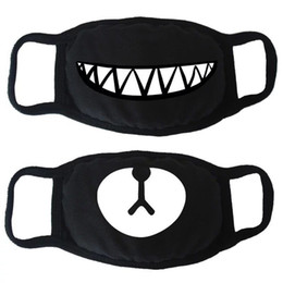 Cover mouths online shopping - 1PCS Unisex Dustproof Mouth Face Mask Korean Style Anime Cartoon Kpop Black Bear Cycling Anti Dust Cotton Protective Cover Masks