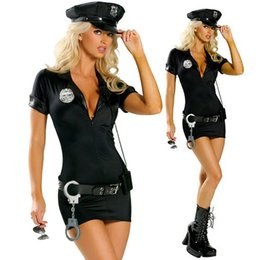 $enCountryForm.capitalKeyWord Australia - Women Black Sexy Police Cosplay Clothes Large Size Anime Apparel Female Theme Costume Short Dress With Belt