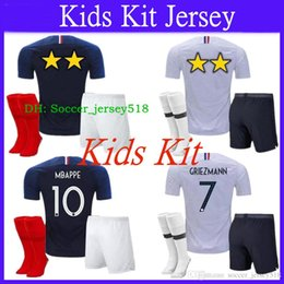 2018 19 World Cup 2 Stars France Jersey Kids Kit + Socks GRIEZMANN MBAPPE  POGBA Home Blue Soccer Jersey Two Stars Football Shirt 7a6d923e4