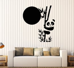 Large Animal Wall Stickers Australia - Large Panda Bamboo Vinyl Wall Sticker For Kids Rooms Cute Animal Asian Stickers Unique Nursery Decor Wall Decal Mural Art