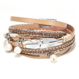 Pearl Bracelet For Men Australia - Bohemian Feather Leather Bracelets For Women Men Bracelet & Bangles Elegant Handmade Crystal pearl Multilayer Wrap Wristband Bracelet
