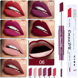 $enCountryForm.capitalKeyWord Australia - 6 Color Matte Lipstick Waterproof Double Ended Long Lasting Lipsticks Pen Makeup Cosmetic Nude Sexy Beauty Red Lips Liner Pencil