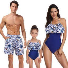 $enCountryForm.capitalKeyWord NZ - 2019 Fashion family matching swimwear beachwear mommy and me swimsuit mother daughter father son clothes dresses high waist bikini look mum