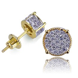 6e68fcd60 New 18K Gold Hiphop CZ Zircon Round Stud Earrings 0.7cm for Men Women and  Girls Gifts Diamond Earrings Studs Rock Rapper Jewelry Wholesale