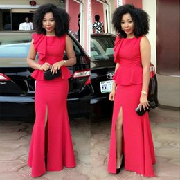 Discount short white special occasion dresses - Aso Ebi Styles Black Women Evening Dresses With Peplum Sleeveless Front Slits Floor Length Formal Prom Dress For Special