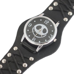 skeleton wrist watches Australia - 2019 Skull Head Watch Men Halloween Motif The Nightmare Before Christmas Punk Skeleton Mens Wrist Watches Quartz Watch Wristwatch