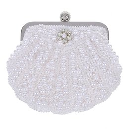 $enCountryForm.capitalKeyWord Australia - Elegant Pearl Bridal Clutch Bag Party Handbag Shell Bag White